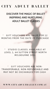blurred dancer in background with details of City Adult Ballet's Gift Vouchers